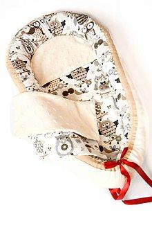 Textil - _HAJI... hniezdo pre bábätká... obojstranné... Marhuľové MINKY & Francúzske sovičky - 8454018_