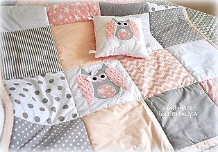 Úžitkový textil - Prehoz na veľkú posteľ 120x205 s aplikáciou Sovička - 8454915_