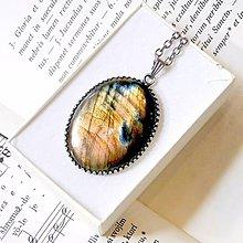 Náhrdelníky - Natural Labradorite Necklace Silver 925 / Strieborný náhrdelník s veľkým oválnym príveskom labradoritu - 8454924_