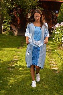 Šaty - Modré ľanové oversized šaty s abstraktnou aplikáciou. - 8455874_