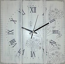 Hodiny - Nástenné hodiny - kvetinky light gray - 8455919_