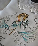 Detské oblečenie - košieľka na krst s anjelikom a krížikom - modrá/strieborná - 8455895_