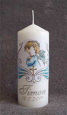 Svietidlá a sviečky - krstová sviečka s anjelikom a krížikom - modrá/strieborná - 8455900_