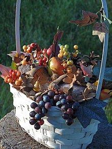 Dekorácie - Jesenná dekorácia, jesenný aranžmán, jesenný košík - 8454981_