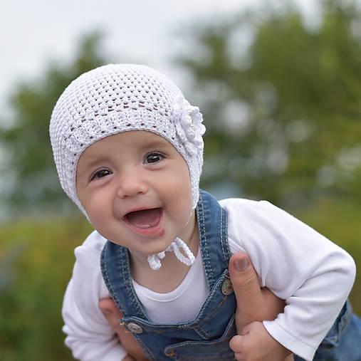 26d651a19b6a Biela čiapočka na viazanie   LeonaS - SAShE.sk - Handmade Detské čiapky