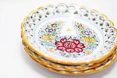 Nádoby - Farebný čipkovaný dvojradový tanier - 8454261_