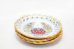 Nádoby - Farebný čipkovaný dvojradový tanier - 8454262_