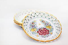 Nádoby - Farebný čipkovaný dvojradový tanier - 8454264_