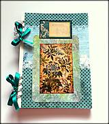 Papiernictvo - Linajkový scrapbook zápisník ,,Turquise garden