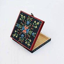 Krabičky - Ručne maľovaná šperkovnica Anna Rosemaling (V2.5 cm, D14 cm, Š14 cm, metalicke zapinanie) - 8455222_