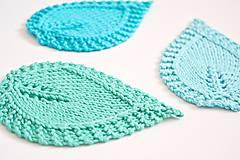 Úžitkový textil - Pletené podložky lístky - tyrkysové - 8457021_