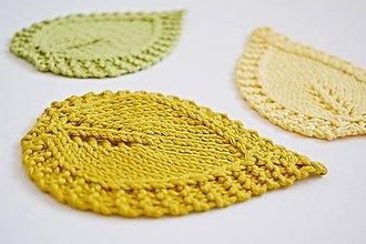 Úžitkový textil - Pletené podložky lístky - žlté - 8456982_