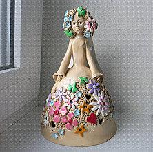 Bábiky - kvetovaný anjelik - zvonec na objednávku - 8454372_