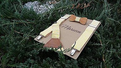 Doplnky - Detský set - drevený motýlik a traky - 8456636_