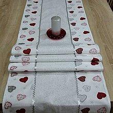 Úžitkový textil - Strieborné variácie srdiečka a prach - stredový obrus 150x40 - 8453734_