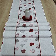 Úžitkový textil - Strieborné variácie srdiečka a prach - stredový obrus 152x40 - 8453898_