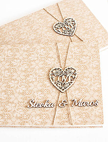 """Papiernictvo - Set čipkovaná svadobná kniha hostí a fotoalbum """" Love"""" - 8454381_"""