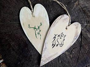 Dekorácie - Drevené srdce / zvieratká - 8455862_