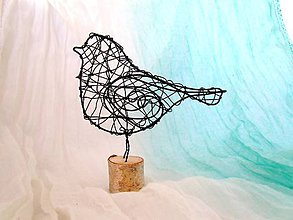 Socha - Vtáčik 3D v brezovom drievku - 8454543_