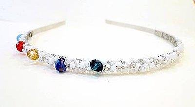Ozdoby do vlasov - Full of Colors Bridal Headband / Čelenka pre nevestu v striebre /0526 - 8459413_