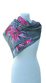 Šatky - Hodvábna šatka s kvetmi - Ružové ľalie - 8458778_