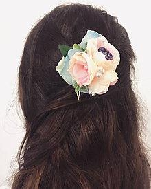 Ozdoby do vlasov - Belaso-ružový romantický hrebienok do vlasov - 8459124_