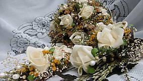 Dekorácie - Svadobná kytica, pierko a hrebienok - 8458010_