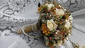 Dekorácie - Svadobná kytica, pierko a hrebienok - 8458012_