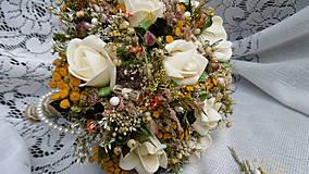 Dekorácie - Svadobná kytica, pierko a hrebienok - 8458015_