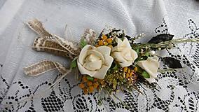Dekorácie - Svadobná kytica, pierko a hrebienok - 8458016_