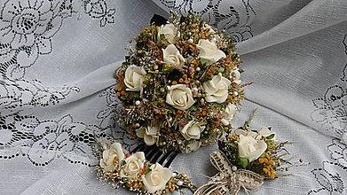 Dekorácie - Svadobná kytica, pierko a hrebienok - 8458009_