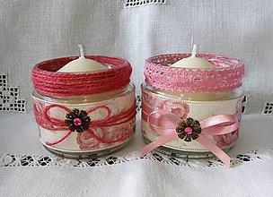 Svietidlá a sviečky - recy svietnik ružový - 8459437_