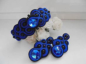 Sady šperkov - Soutache set Lana - kráľovská modrá s čiernou - 8460427_