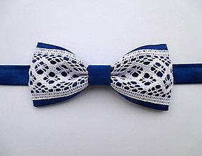 Doplnky - čipkovaný motýlik (modrý) - 8459632_