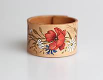 Náramky - Ručne maľovaný dámsky kožený náramok