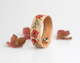 """Náramky - Ručne maľovaný kožený náramok """"Vlčie maky a margarétky"""" - 8459631_"""