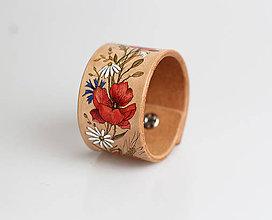 """Náramky - Ručne maľovaný dámsky kožený náramok """"Vlčie maky a lúčne kvety"""" - 8459683_"""