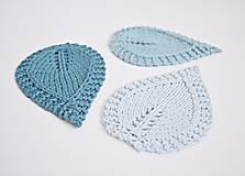Úžitkový textil - Pletené podložky lístky - modré - 8459566_