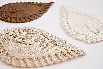 Úžitkový textil - Pletené podložky lístky - hnedá/prírodná - 8459486_