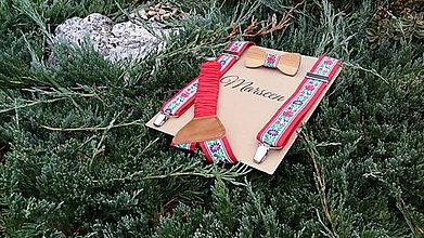 Detské doplnky - Detský set - drevený motýlik a traky - 8459508_