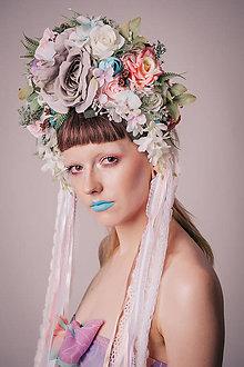 Ozdoby do vlasov - Pastelová květinová parta s krajkami - 8460890_