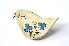 Odznaky/Brošne - Keramická brošňa Vtáčik - 8459198_