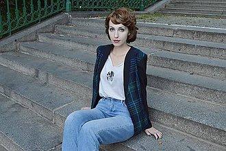Kabáty - Modré tartanové sako - 8457901_