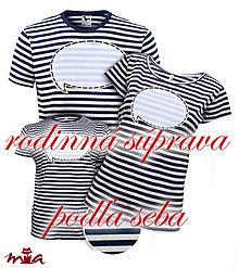 Tričká - Rodinná súprava pruhovaných tričiek s nápisom podľa seba - modrá - 8458385_