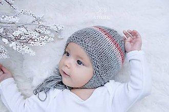 Detské čiapky - Prechodná ušianka FAREBNÉ PÁSY - 8460950_