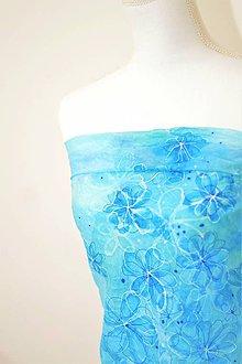 Šatky - Ručne maľovaná hodvábna šatka s kvetinovým vzorom. - 8463272_