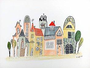 Obrazy - Mesto 16 - ilustrácia obraz / originál maľba - 8461722_