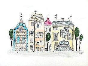 Obrazy - Mesto 17 fontána - ilustrácia obraz/ originál maľba - 8463449_
