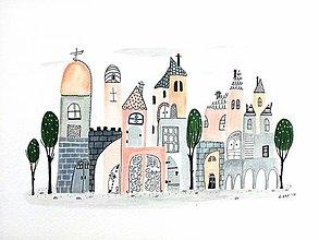 Obrazy - Mesto 18 - ilustrácia obraz/ originál maľba - 8463485_