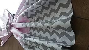 Úžitkový textil - Závesy šedoružový cik cak - 8462734_